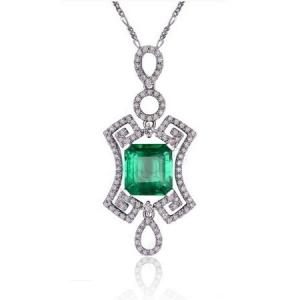 0.7克拉祖母绿 26分钻石吊坠