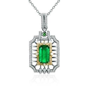 2.675克拉祖母绿 63分钻石吊坠