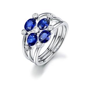 1.429克拉蓝宝石 10分钻石戒指