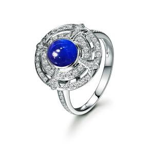 1.71克拉蓝宝石 33分钻石戒指