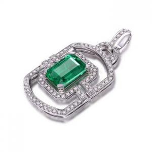 0.703克拉祖母绿 26分钻石吊坠