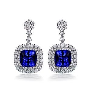 1.16克拉蓝宝石 65分钻石耳钉