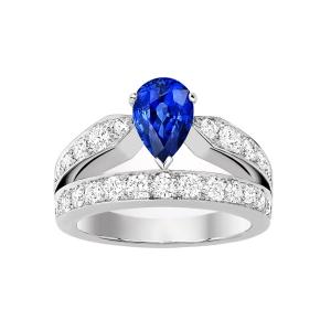 0.41克拉蓝宝石 45分钻石戒指