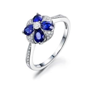 1.9克拉蓝宝石 24分钻石戒指