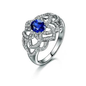 0.995克拉蓝宝石 30分钻石戒指