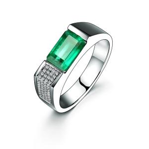 0.807克拉祖母绿 10分钻石戒指