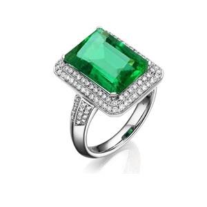 0.535克拉祖母绿 43分钻石戒指