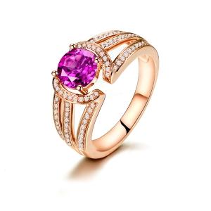 1.32克拉粉蓝宝24分钻石戒指