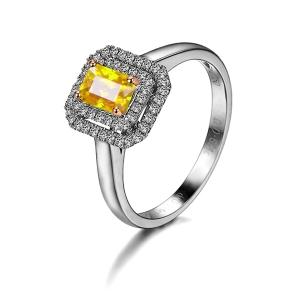 0.94克拉黄色蓝宝 33分钻石戒指