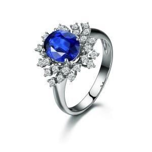 1.62克拉蓝宝石36分钻石戒指
