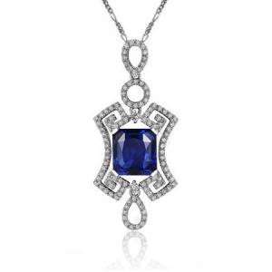 0.8克拉蓝宝石 40分钻石吊坠
