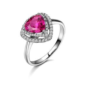 1.14克拉紫蓝宝 52分钻石戒指