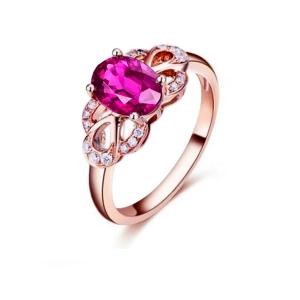 1.83克拉粉蓝宝 5分钻石戒指