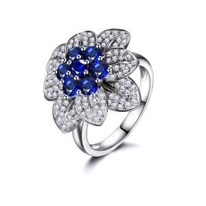 1.325克拉蓝宝石 42分钻石戒指