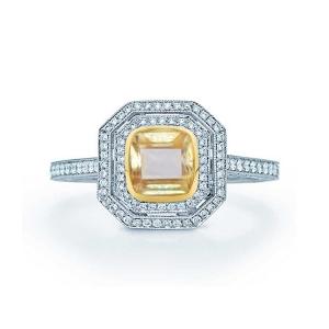 0.975克拉黄蓝宝 31分钻石戒指