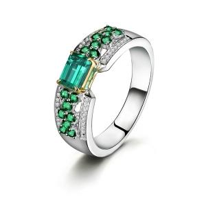 0.494克拉祖母绿 47分钻石戒指