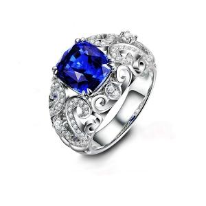 2.015克拉蓝宝石 36分钻石戒指