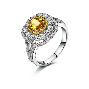 1.627克拉蓝宝 51分钻石戒指