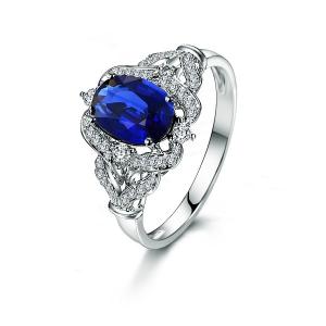 0.98克拉蓝宝石 25分钻石戒指