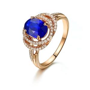 1.285克拉蓝宝石 47分钻石戒指