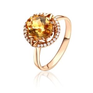 0.86克拉黄色蓝宝 11分钻石戒指