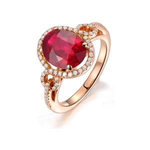 1.01克拉红宝石 34分钻石戒指