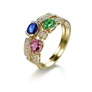 1.19克拉红宝石19分钻石戒指