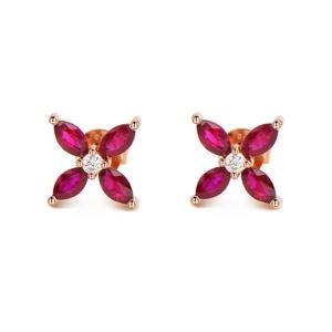 1.1克拉红宝石 6分钻石耳钉