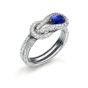 0.34克拉蓝宝石 55分钻石戒指