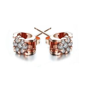 红18K金钻石耳钉-璀璨星光