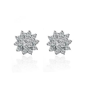 白18K金钻石耳钉-花样年华