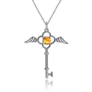 黄色蓝宝钻石吊坠(开心天使钥匙)