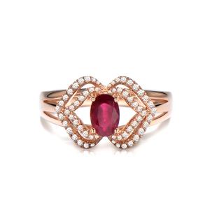 0.66克拉红宝石 26分钻石戒指