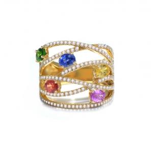 1.815克拉彩蓝宝 86分钻石戒指