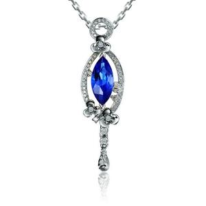 1.06克拉蓝宝石 21分钻石吊坠