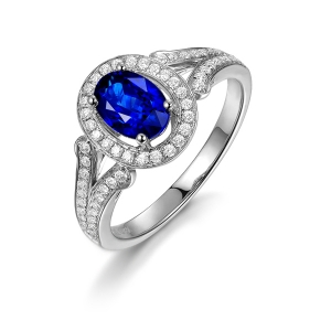 0.975克拉蓝宝石 39分钻石戒指