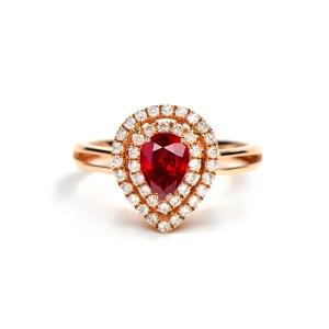 0.61克拉红宝石 33分钻石戒指