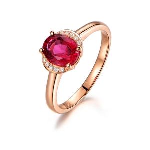 1.025克拉红宝石 4分钻石戒指