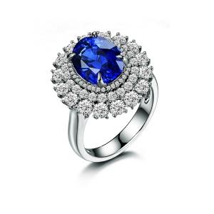 2.295克拉蓝宝石 1.26克拉钻石戒指 一款两戴