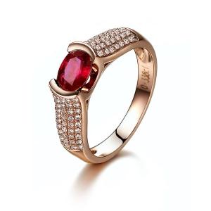 0.76克拉红宝石 27分钻石戒指
