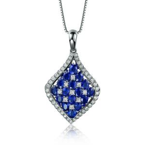 2.365克拉蓝宝石 54分钻石吊坠