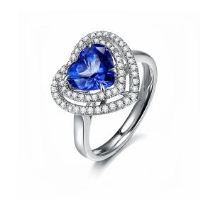 2.53克拉蓝宝石 37分钻石戒指 海洋之心