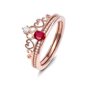 0.51克拉红宝石 31分钻石戒指