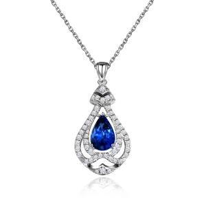 1.055克拉蓝宝石 30分钻石吊坠