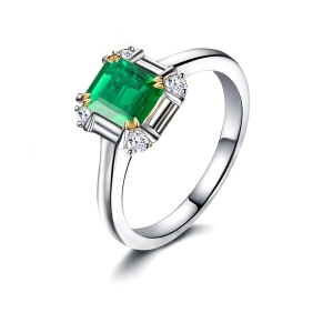 0.875克拉祖母绿 11分钻石戒指