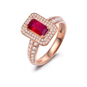 0.945克拉红宝石 38分钻石戒指