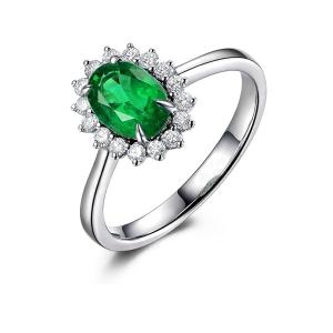 0.59克拉祖母绿 20分钻石戒指