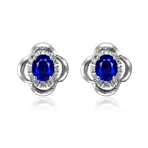 1.165克拉蓝宝石 30分钻石耳钉