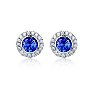 0.285克拉蓝宝石 11分钻石耳钉