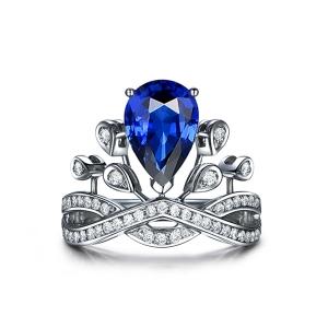 0.875克拉蓝宝石 20分钻石戒指